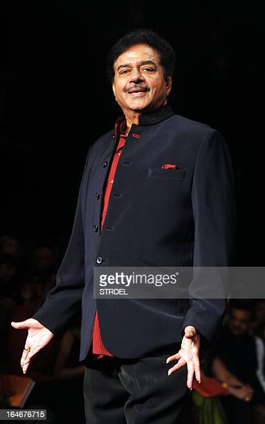 Indian Bollywood actor Shatrughan Sinha poses as he attends a fashion show by designer Vikram Phadnis supporting the 'Swades Foundation' on the...