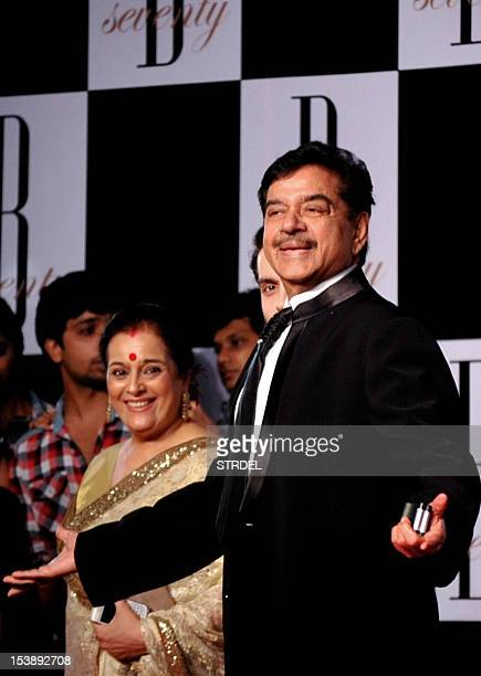 Indian Bollywood actor Shatrughan Sinha with his wife Poonam arrive to attend the 70th Birthday celebration of Bollywood Actor Amitabh Bachchan in...