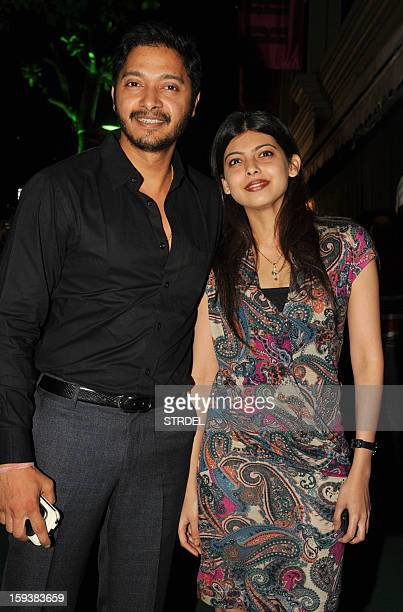Indian Bollywood actor Shreyas Talpade with wife Deepti during the inauguration of a furniture showroom by actors Sunil and Mana Shetty in Mumbai on...