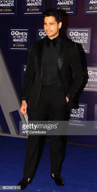 Indian Bollywood actor Sidharth Malhotra attends GQ India's ninth anniversary with the annual Men of the Year Awards 2017 in Mumbai on September 22...