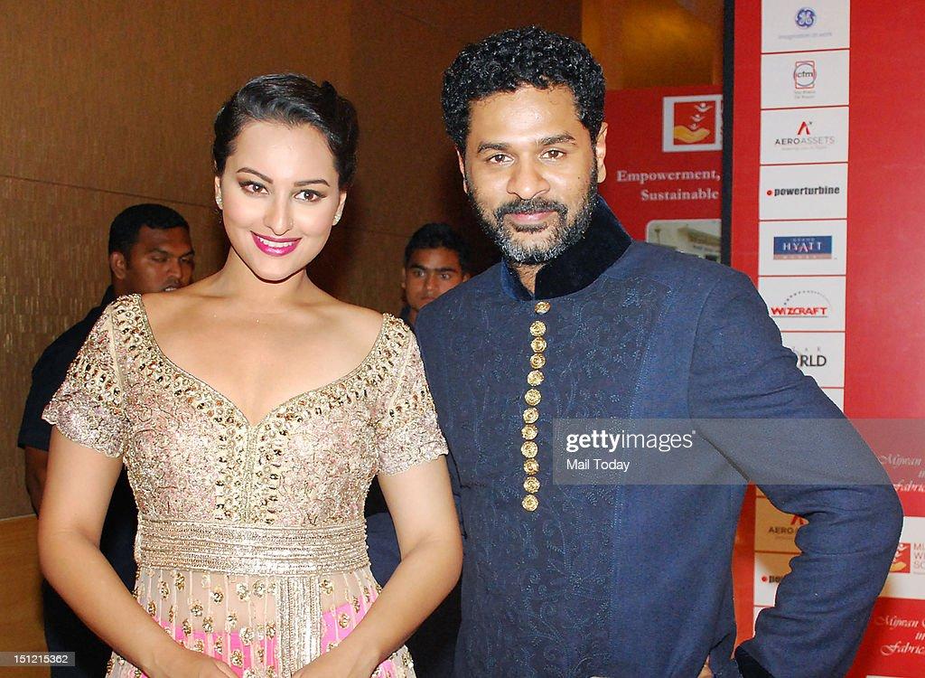 Indian Bollywood actor Sonakshi Sinha and Prabhu Deva during Shabana Azmi's charity fundraising fashion show Mijwan at Grand Hyatt in Mumbai on September 3, 2012.
