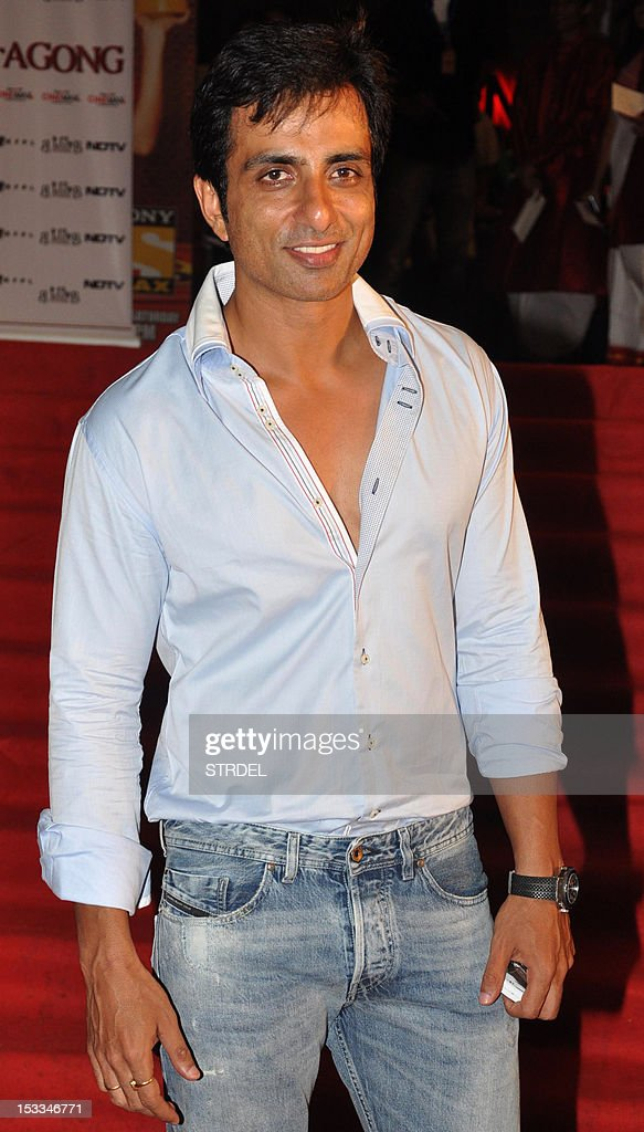 """Indian Bollywood actor Sonu Sood attends the premier of the Hindi film """"Chittagong"""" directed by Bedabrata Pain in Mumbai on October 3, 2012."""