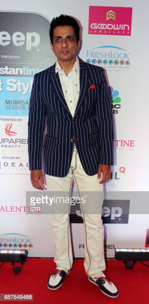 Indian Bollywood actor Sonu Sood poses as he attends the 'HT Most Stylish' awards ceremony in Mumbai late March 24 2017 PHOTO / STR