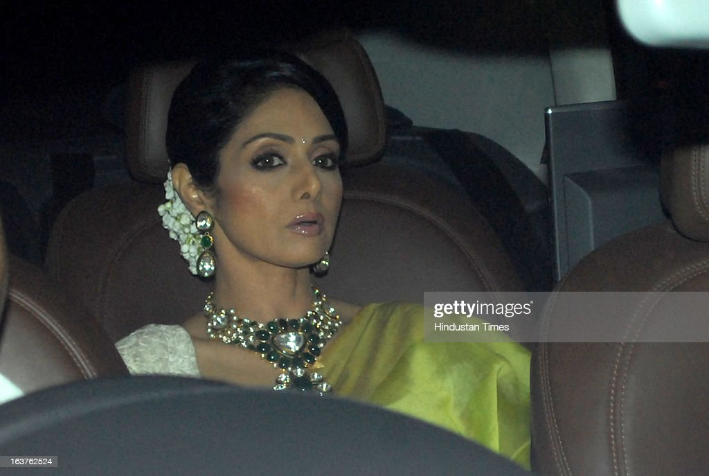 Indian Bollywood actor Sridevi Kapoor arriving for the Steven Spielberg's party which is organised by Anil Ambani, chairman of Anil Dhirubhai Ambani Group at Taj President, Cuffe Parade on March 12, 2013 in Mumbai, India. Spielberg is in India to celebrate the success of his film Lincoln, a co-production between his banner DreamWorks and Anil Ambani's Reliance Entertainment.