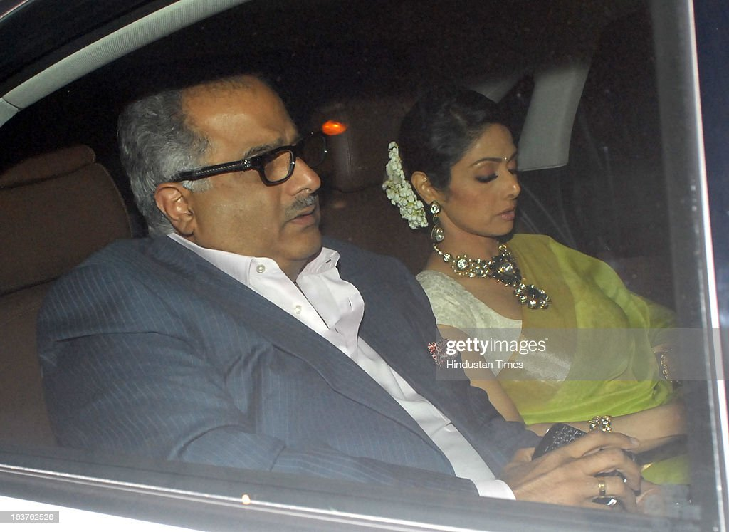 Indian Bollywood actor Sridevi Kapoor with husband Boney Kapoor, film producer arriving for the Steven Spielberg's party which is organised by Anil Ambani, chairman of Anil Dhirubhai Ambani Group at Taj President, Cuffe Parade on March 12, 2013 in Mumbai, India. Spielberg is in India to celebrate the success of his film Lincoln, a co-production between his banner DreamWorks and Anil Ambani's Reliance Entertainment.