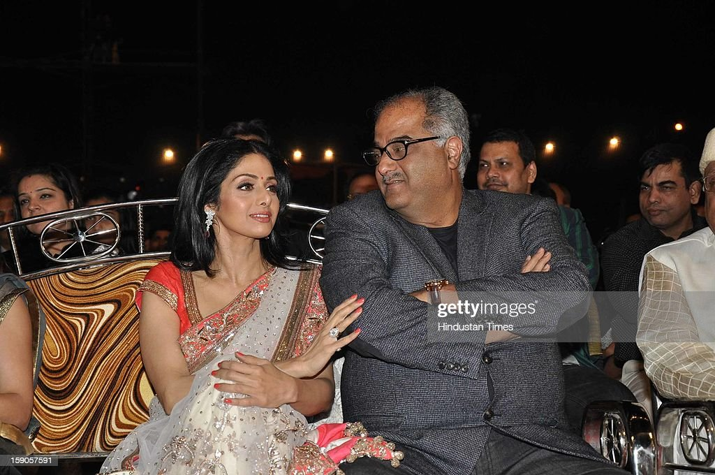 Indian bollywood actor Sridevi with husband Boney Kapoor during the Umang Mumbai Police Annual Show 2013 at Andheri Sports Complex on January 5, 2013 in Mumbai, India.