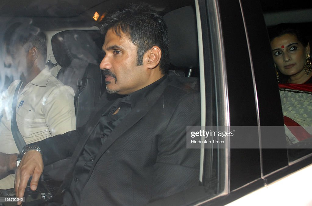 Indian Bollywood actor Sunil Shetty arriving for the Steven Spielberg's party which is organised by Anil Ambani, chairman of Anil Dhirubhai Ambani Group at Taj President, Cuffe Parade on March 12, 2013 in Mumbai, India. Spielberg is in India to celebrate the success of his film Lincoln, a co-production between his banner DreamWorks and Anil Ambani's Reliance Entertainment.