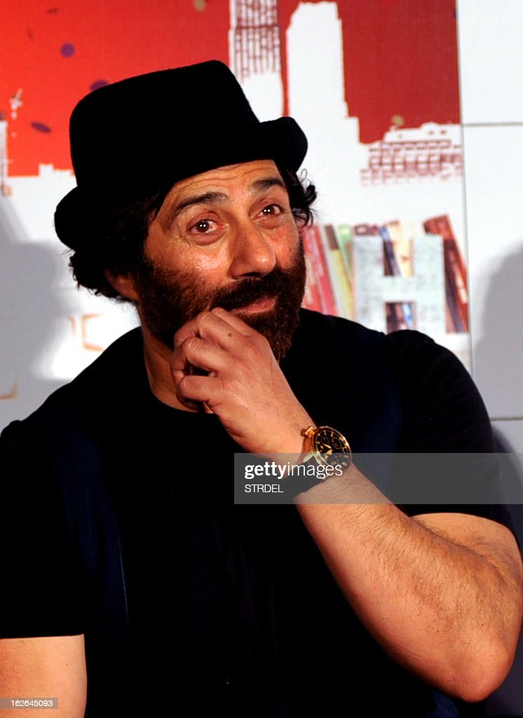 Indian Bollywood actor Sunny Deol attends a media event for the forthcoming Hindi Film 'I Love New Year' in Mumbai on February 25, 2013.