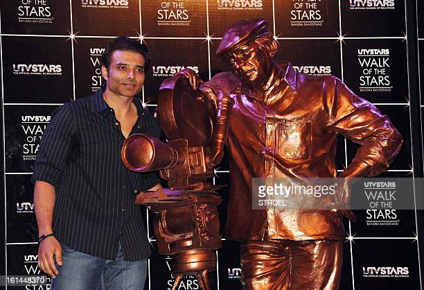 Indian Bollywood actor Uday Chopra poses during the unveiling of a UTV STARS walk of the stars brass statue of late Bollywood legendary filmmaker...