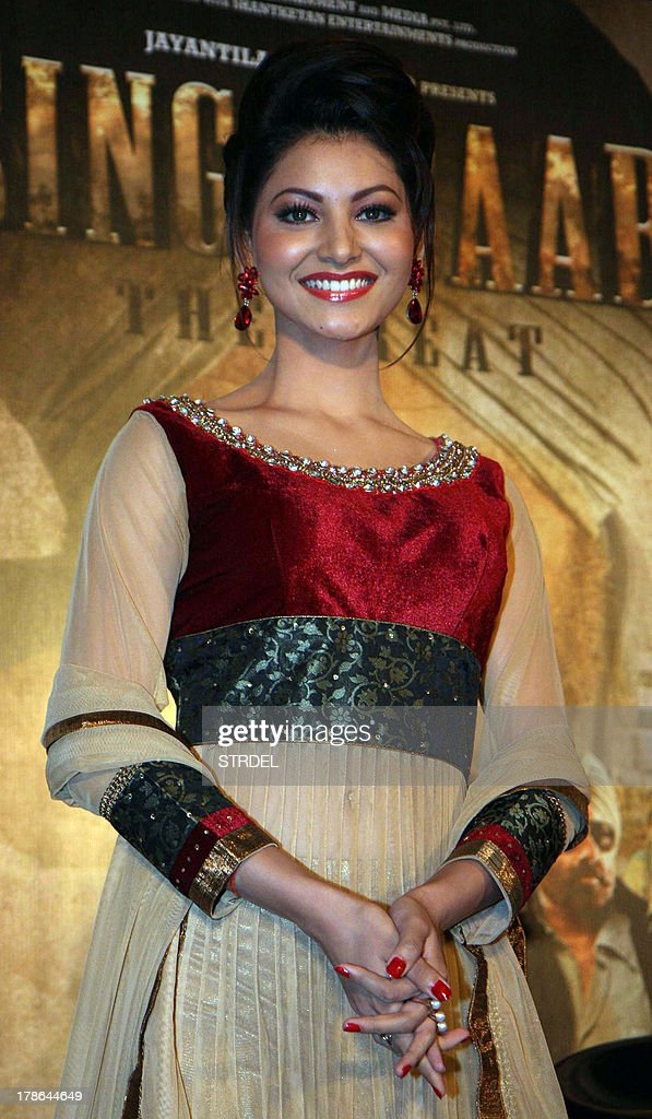 Indian Bollywood actor Urvashi Rautela poses during the first look of the upcoming Hindi film 'Singh Saab the Great' in Mumbai on August 29, 2013.