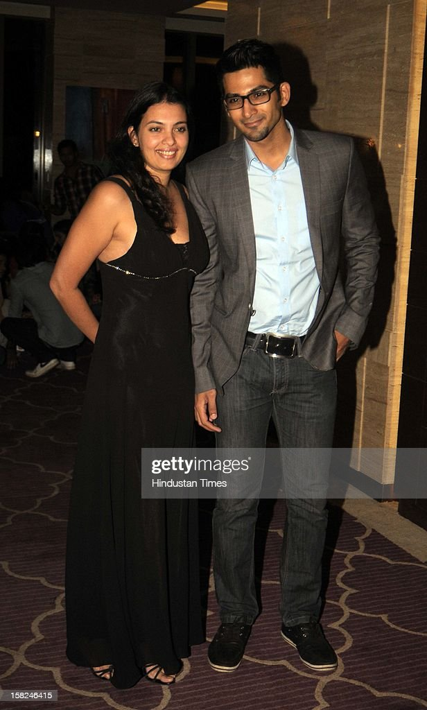 Indian bollywood actor Vivan Bhatena with his wife Nikhila Bhatena during the 'Talaash' success party at JW Marriott, Juhu on December 10, 2012 in Mumbai, India. Talaash hit the box office on the 30th of November.