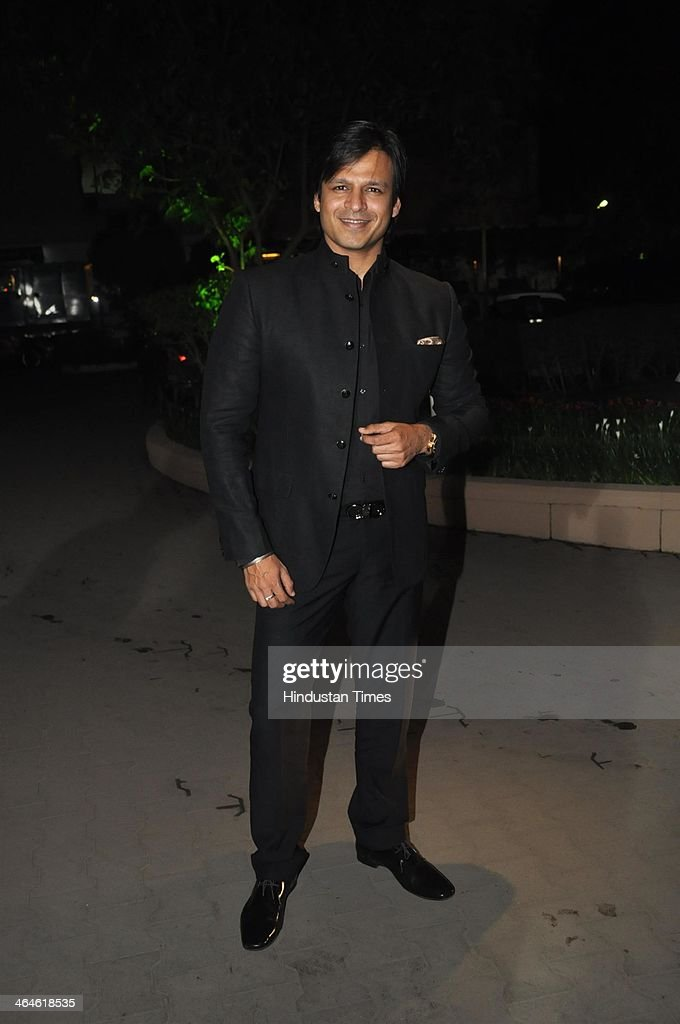Indian Bollywood actor Vivek Oberoi during the wedding reception of Bollywood playback singer Raghav Sachar and actor Amita Pathak on January 21, 2014 in Mumbai, India.