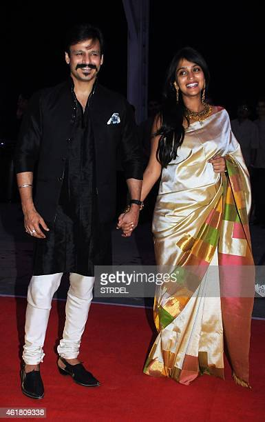 Indian Bollywood actor Vivek Oberoi with his wife Priyanka attend the wedding reception of Kussh Sinha son of Bollywood veteran actor Shatrughan...