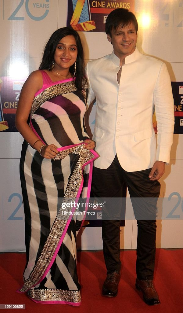 Indian bollywood actor Vivek Oberoi with his wife Priyanka attending Zee Cine Awards 2013 at Yash Raj Studio on January 6, 2013 in Mumbai, India.
