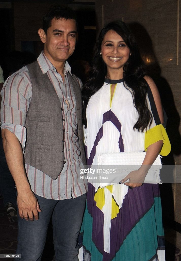 Indian bollywood actors Aamir Khan with Rani Mukherjee during the 'Talaash' success party at JW Marriott, Juhu on December 10, 2012 in Mumbai, India. Talaash hit the box office on the 30th of November.
