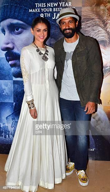 Indian Bollywood actors Aditi Rao Hydari and Farhan Akhtar attend the trailer launch of upcoming Hindi film 'Wazir' in Mumbai on November 18 2015 AFP...