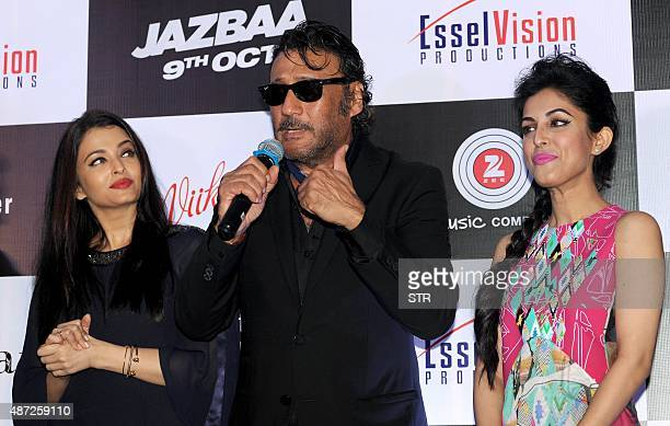 Indian Bollywood actors Aishwarya Rai Bachchan Jackie Shroff and Priya Banerjee pose during the song launch of the upcoming Hindi film 'Jazbaa'...