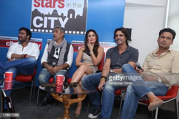 Indian bollywood actors Ajay Devgn Kareena Kapoor Khan Arjun Rampal Manoj Bajpai along with the film director Prakash Jha during an exclusive...