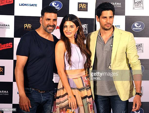 Indian Bollywood actors Akshay Kumar Jacqueline Fernandez and Sidharth Malhotra pose for a photograph during a promotional event for the Hindi film...