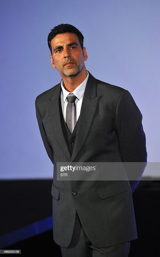 Indian Bollywood actors <a gi-track='captionPersonalityLinkClicked' href=/galleries/search?phrase=Akshay+Kumar&family=editorial&specificpeople=752716 ng-click='$event.stopPropagation()'>Akshay Kumar</a> poses at the unveiling of the first look of Best Deal TV, Indias first celebrity-driven 24/7 Home Shopping Channel in Mumbai on March 5, 2015.