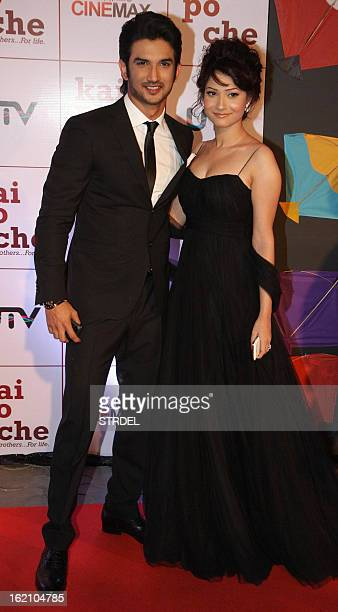 Indian Bollywood actors Amit Sadh and Ankita Lokhande attend the premiere of Hindi film 'Kai Po Che' in Mumbai on February 18 2013 AFP PHOTO