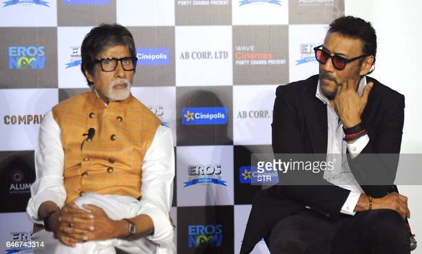 Indian Bollywood actors Amitabh Bachchan and Jackie Shroff pose during the trailer launch of the forthcoming Hindi Film Sarkar 3 written and directed...