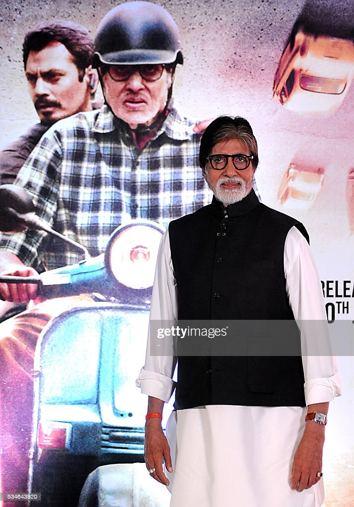 Indian Bollywood Actors Amitabh Bachchan attends the music launch of his Hindi film Te3n directed by Ribhu Dasgupta, today in Mumbai on May.27.2016. / AFP / -