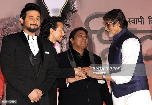 Indian Bollywood actors Amitabh Bachchan Swapnil Joshi and Tiger Shroff attend the mahurat inauguration of the Marathi film 'Bhikari' produced and...