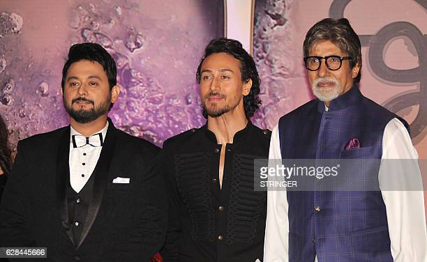 Indian Bollywood actors Amitabh Bachchan Tiger Shroff and Swapnil Joshi attend the mahurat inauguration of the Marathi film 'Bhikari' produced and...