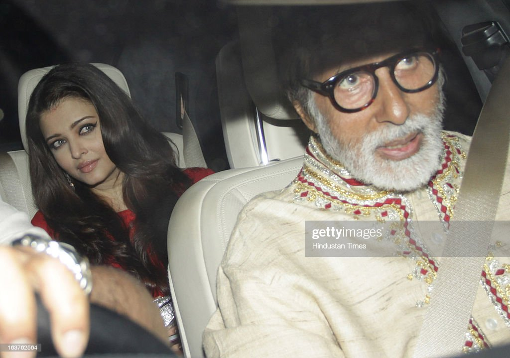 Indian Bollywood actors Amitabh Bachchan with Aishwarya Rai Bachchan arriving for the Steven Spielberg's party which is organised by Anil Ambani, chairman of Anil Dhirubhai Ambani Group at Taj President, Cuffe Parade on March 12, 2013 in Mumbai, India. Spielberg is in India to celebrate the success of his film Lincoln, a co-production between his banner DreamWorks and Anil Ambani's Reliance Entertainment.