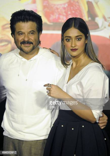Indian Bollywood actors Anil Kapoor and Ileana DCruz pose for a photograph during a promotional event for the forthcoming Hindi film 'Mubarakan'...