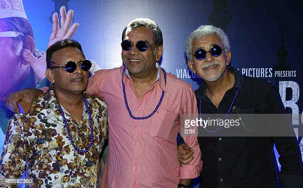 Indian Bollywood actors Annu Kapoor Paresh Rawal and Nasseruddin Shah during the trailer launch of their upcoming Hindi film Dharam Sankat Mein in...