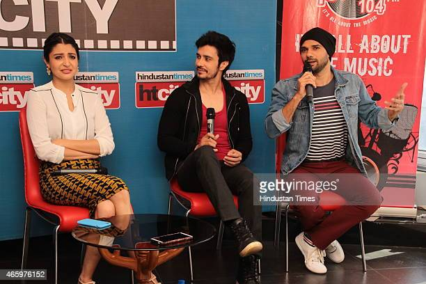 Indian Bollywood actors Anushka Sharma Neil Bhoopalam and Darshan Kumaar during an exclusive interview for their upcoming movie NH10 at HT Media...