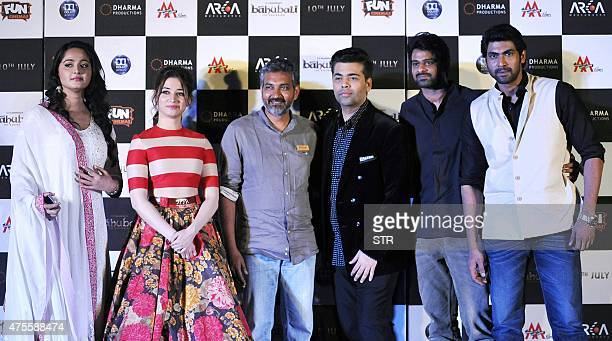 Indian Bollywood actors Anushka Shetty Tamannaah Bhatia writter and director S S Rajamouli producer Karan Johar and actors Prabhas and Rana Daggubati...