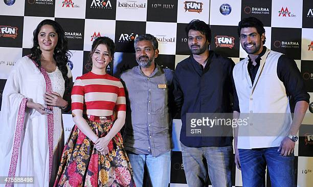 Indian Bollywood actors Anushka Shetty Tamannaah Bhatia writter and director S S Rajamouli and actors Prabhas and Rana Daggubati attend the trailer...
