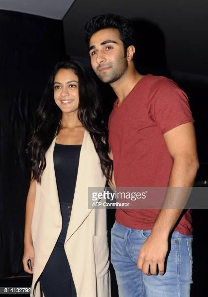 Indian Bollywood actors Anya Singh and Aadar Jain attend the screening of film 'Jagga Jasoos in Mumbai on July 13 2017 / AFP PHOTO / STR