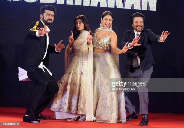 Indian Bollywood actors Arjun Kapoor Athiya Shetty Ileana DCruz and Anil Kapoor attend a promotional event for their upcoming Hindi film 'Mubarakan'...