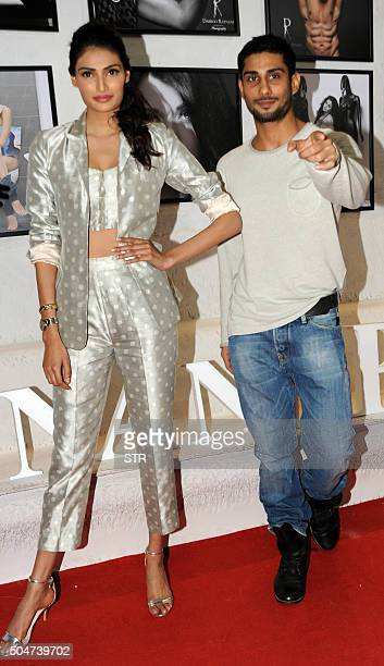 Indian Bollywood actors Athiya Shetty and Prateik Babbar attend the launch of photographer Dabboo Ratnanis 2016 Calendar in Mumbai on January 12 2016...
