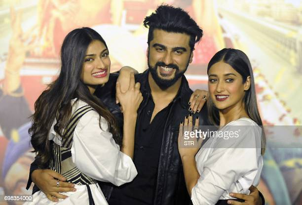 Indian Bollywood actors Athiya Shetty Arjun Kapoor and Ileana DCruz pose for a photograph during a promotional event for the forthcoming Hindi film...