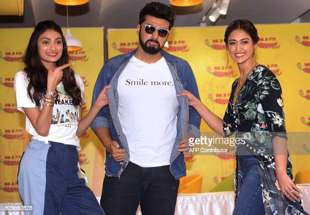 Indian Bollywood actors Athiya Shetty Arjun Kapoor and Ileana DCruz pose for a photograph during the promotional event for the forthcoming Hindi film...