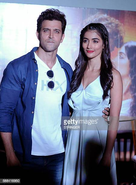 Indian Bollywood actors Hrithik Roshan and Pooja Hegde pose during the promotion of their Hindi film Mohenjo Daro directed by Ashutosh Gowariker in...