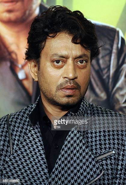 Indian Bollywood actors Irrfan Khan poses during the theatrical trailer launch of the upcoming Hindi film 'Jazbaa' directed by Sanjay Gupta in Mumbai...