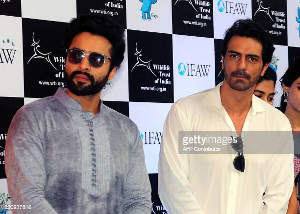 Indian Bollywood actors Jackky Bhagnani and Arjun Rampal pose for a photograph during the launch of Gaj Yatra a campaign to save India's wild...