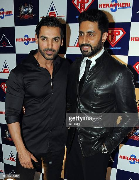Indian Bollywood actors John Abraham and Abhishek Bachchan attend the mahurat of the forthcoming comedy Hindi film 'Hera Pheri 3' in Mumbai on...