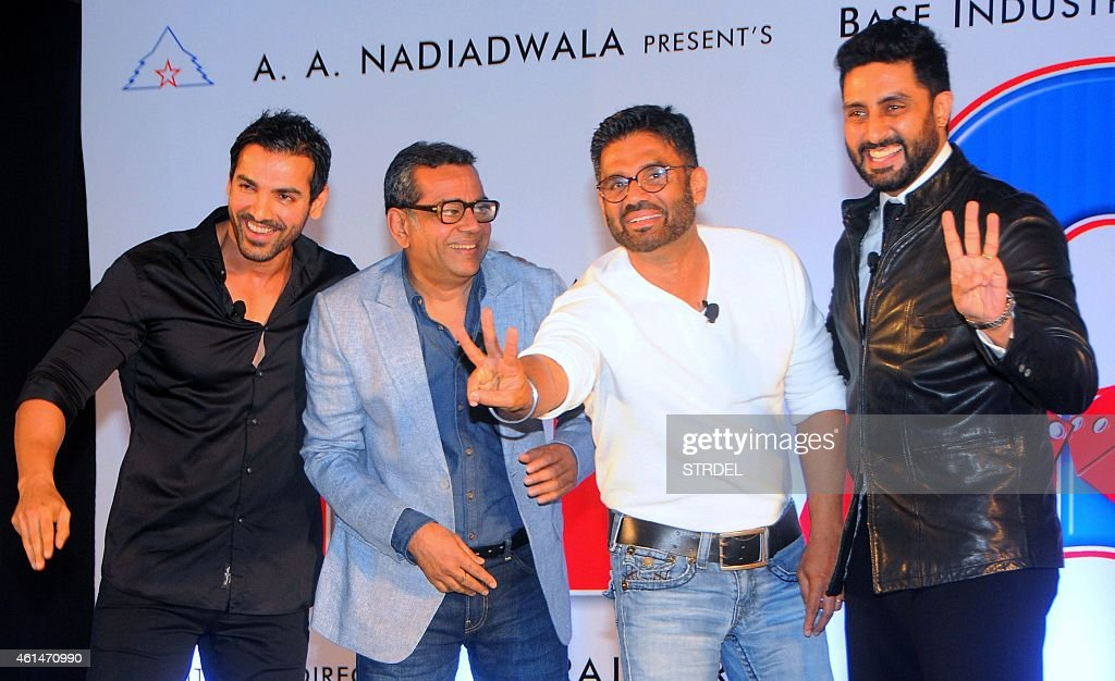Indian Bollywood actors (L-R) <a gi-track='captionPersonalityLinkClicked' href=/galleries/search?phrase=John+Abraham+-+Sk%C3%A5despelare&family=editorial&specificpeople=11715593 ng-click='$event.stopPropagation()'>John Abraham</a>, Paresh Rawal, Suniel Shetty and <a gi-track='captionPersonalityLinkClicked' href=/galleries/search?phrase=Abhishek+Bachchan&family=editorial&specificpeople=549431 ng-click='$event.stopPropagation()'>Abhishek Bachchan</a> attend the mahurat (auspiciuous inauguration) of the forthcoming comedy Hindi film 'Hera Pheri 3' in Mumbai on January 12, 2015. AFP PHOTO/STR