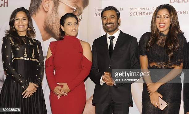 Indian Bollywood actors Kajol Devgn Dhanush Amala Paul and director Soundarya Rajnikanth attend the trailer and music launch of the upcoming film VIP...