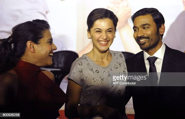 Indian Bollywood actors Kajol Devgn Tapsee Pannu and Dhanush attend the trailer and music launch of the upcoming film VIP 2' in Mumbai on June 25...