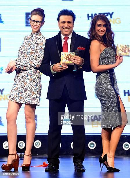 Indian Bollywood actors Kalki Koechlin Govinda and Ileana D'Cruz pose during the music launch of their upcoming Hindi film Happy Ending in Mumbai on...