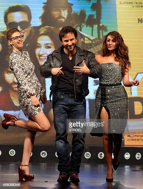Indian Bollywood actors Kalki Koechlin Saif Ali Khan and Ileana D'Cruz pose during the music launch of their upcoming Hindi film Happy Ending in...