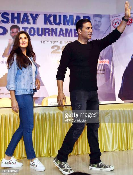 Indian Bollywood actors Katrina Kaif and Akshay Kumar gesture as they attend the world's biggest Kudo tournament in Mumbai on October 14 2017 Kudo is...